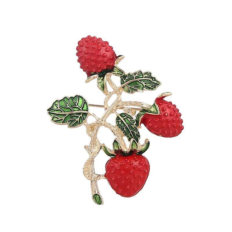 2018 Berkualitas Tinggi Merek Desain Fashion Perhiasan Klasik Stroberi Segar Buah Paduan Bros Berlian Imitasi Wanita Bros Hadiah M538
