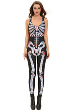 2016 new fashion sexy cosplay role club party scary Sugar Skull Adult Halloween Catsuit skeleton Costume Jumpsuit for women 8854
