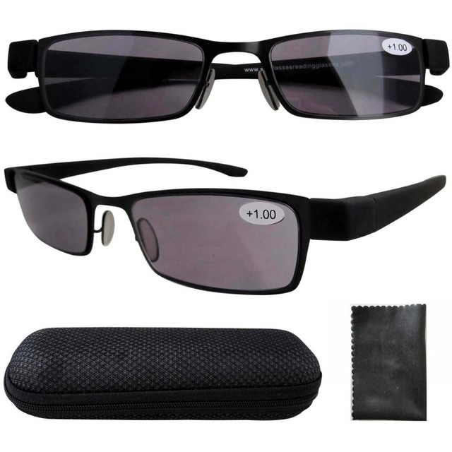 R11043 Rubber Painted Plastic Arms Sun Readers Gray Tinted Lens Reading Glasses +1.00/1.25/1.50/1.75/2.00/2.50