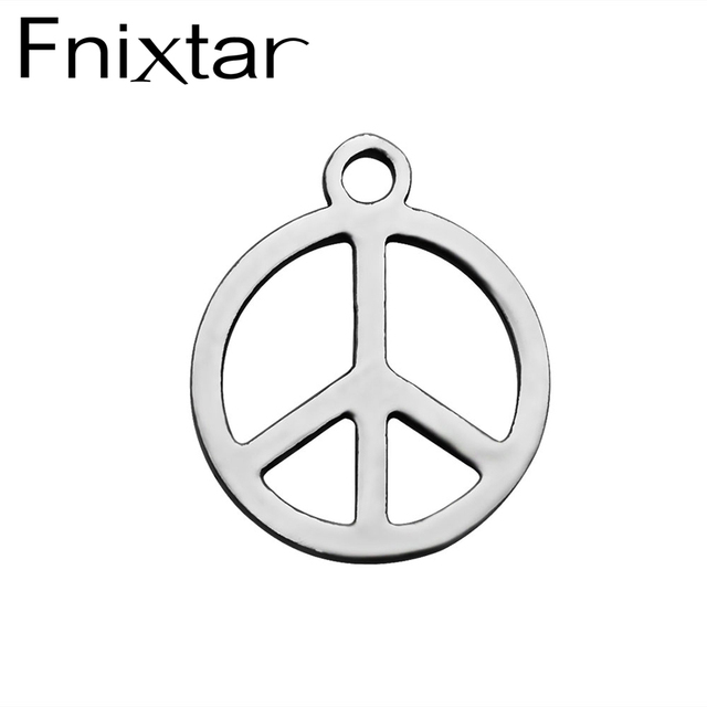 20pcs Lot Fnixtar Stainless Steel Peace Sign Charm Pendant For Bracelet Necklace Jewelry Accessories Making