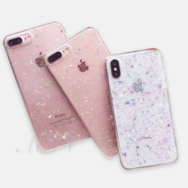 online retailer 2f009 f1711 US $2.42 19% OFF|Clear Glitter Powder Colorful Shining Sequins Cases For  iPhone X 8 7 6 6S Plus XS MAX XR Soft TPU Bling Cover Shockproof Case-in ...