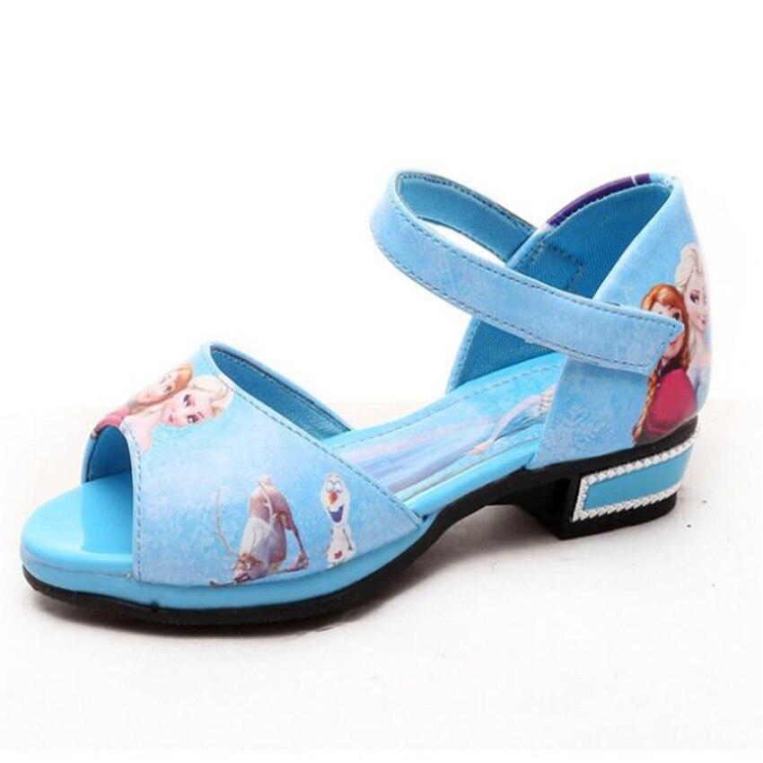 2017 Summer Roman Sandal Shoes girl`s Sandals Shoes Elsa Anna girls princess Glitter shoes single dance party shoes EU26-36