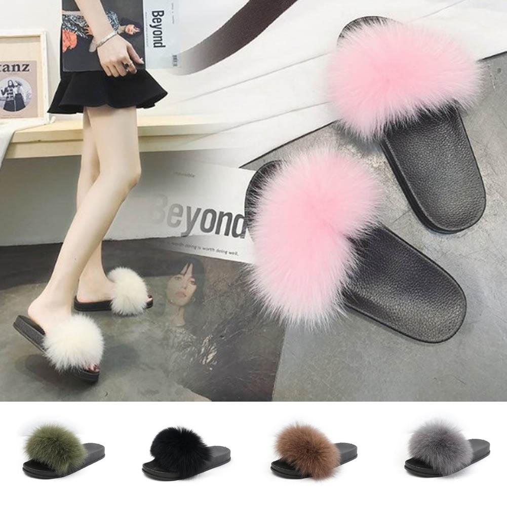 74dde363f5a Fur furry slide sweet feather thick bottom beach female sandals hair jpg  1001x1001 Slides cute female