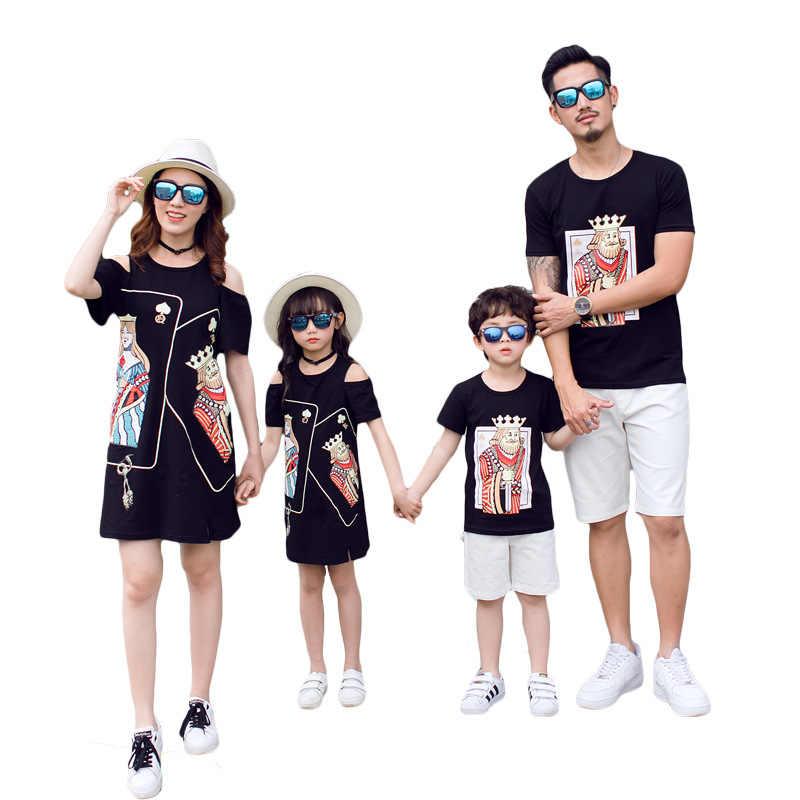 b9c6b0c6c866d4c Летние одинаковые комплекты для семьи, черное платье с открытыми плечами  без бретелек для мамы и