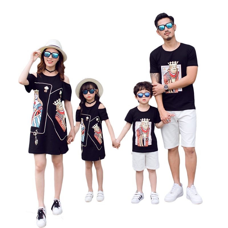 Summer Family Matching Outfits Mom Daughter Black Poker Face Strapless Shoulder Dress Dad Son Short T-shirt Children Clothes