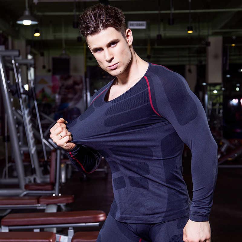 2019 marca sin costuras de manga larga para Hombre Ropa Deportiva Fitness medias camiseta entrenamiento ropa interior compresión negro gimnasio camisa