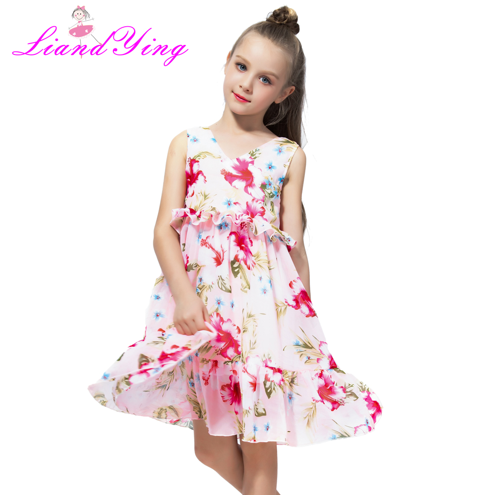 Flower Girls Summer Dress Baby Clothes 2018 Brand Vestidos Kids Dresses for Girls Costume Princess Children Party Chiffon Dress 2018 summer new arrival girls pleated chiffon one piece dress with paillette collar children colthes for kids baby pink green