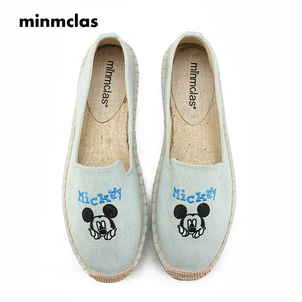 2018 New Fashion Embroidery Mickey Comfortable Ladies Womens Casual Espadrilles Shoes Breathable Flax Hemp Canvas Girls pink
