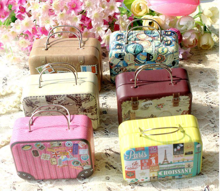 Storage-Box Container Sundries-Organizer Suitcase-Shape Wedding-Favor Candy Vintage Europe-Style