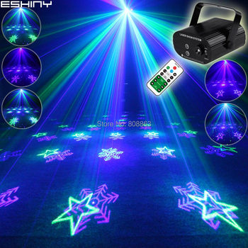 ESHINY Remote G&B Laser 6 snowflake Patterns Projector Blue LED Bar DJ  Dance Xmas Disco Home Party Stage Effect Light T151D3