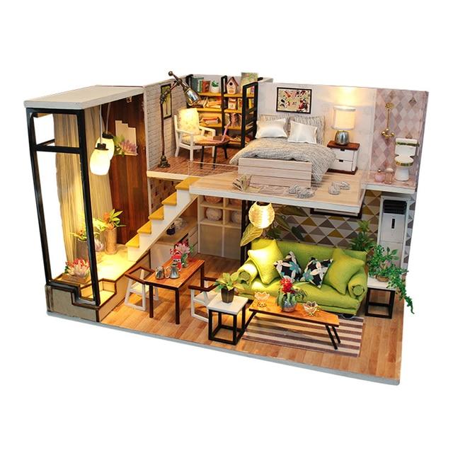 Miniature Modern Style House Model Dollhouse DIY Wooden