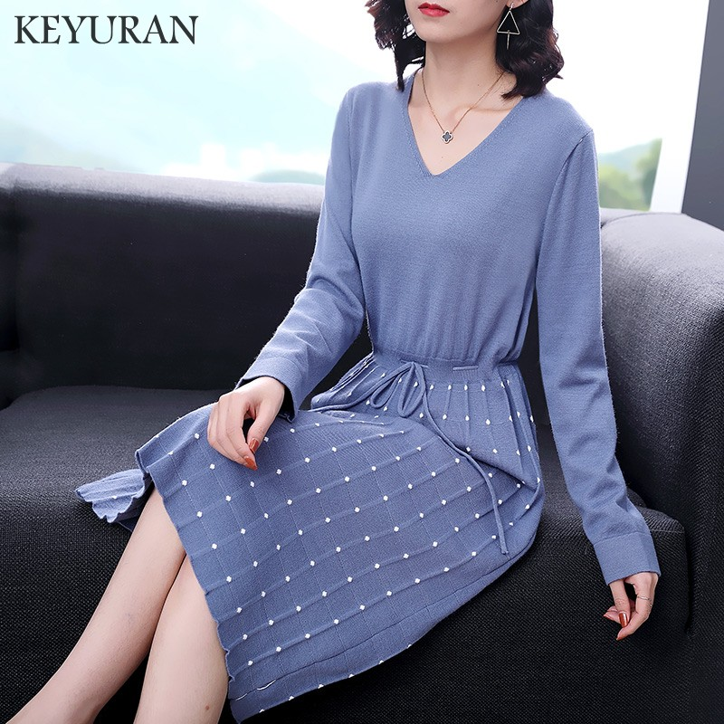 2018 Black Sexy V Neck Knitted Dress Women Slim Casual Autumn Winter Long Sleeve High Waist Sweater Dresses Vestidos for ladies