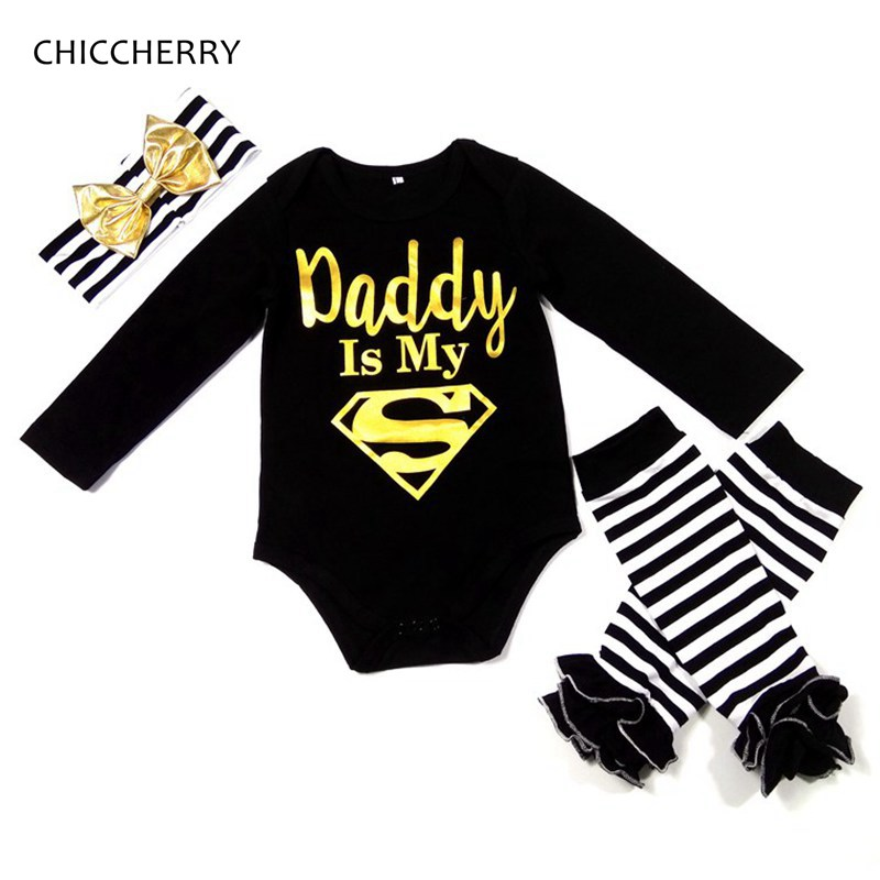 2018 Daddy is My Superhero Print Baby Girl Clothes Toddler Jumpsuit & Strips Headband & Legwarmers Ropa Bebe Father's Day Outfit my daddy
