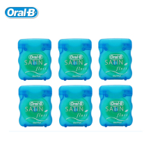 SATIN Dental Floss Oral B Smooth Interdental Space Clean Gum Care Waxed Flat Thread Flosser Fresh Mint 50m/pcs  (6 pcs=1 pack)