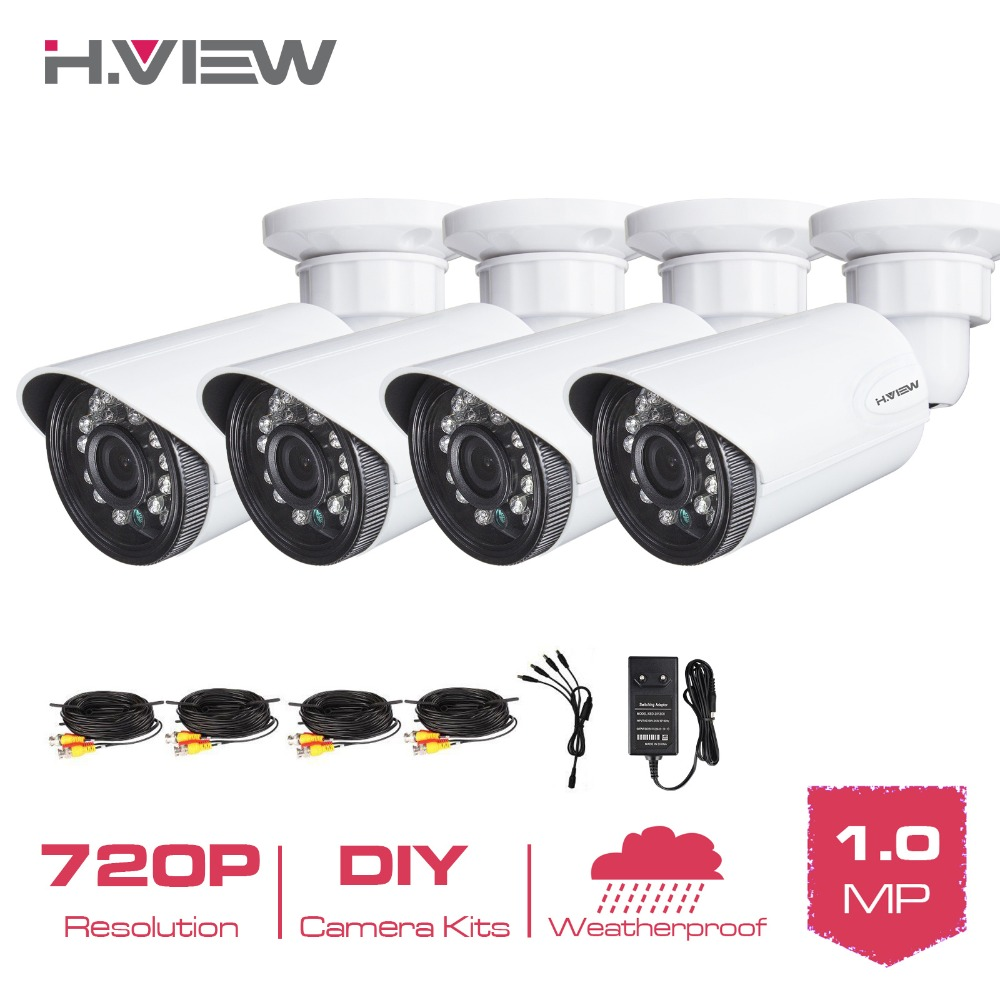 720P CCTV Camera Kit 4 PCS 1200 TVL font b Security b font Camera 24 Leds