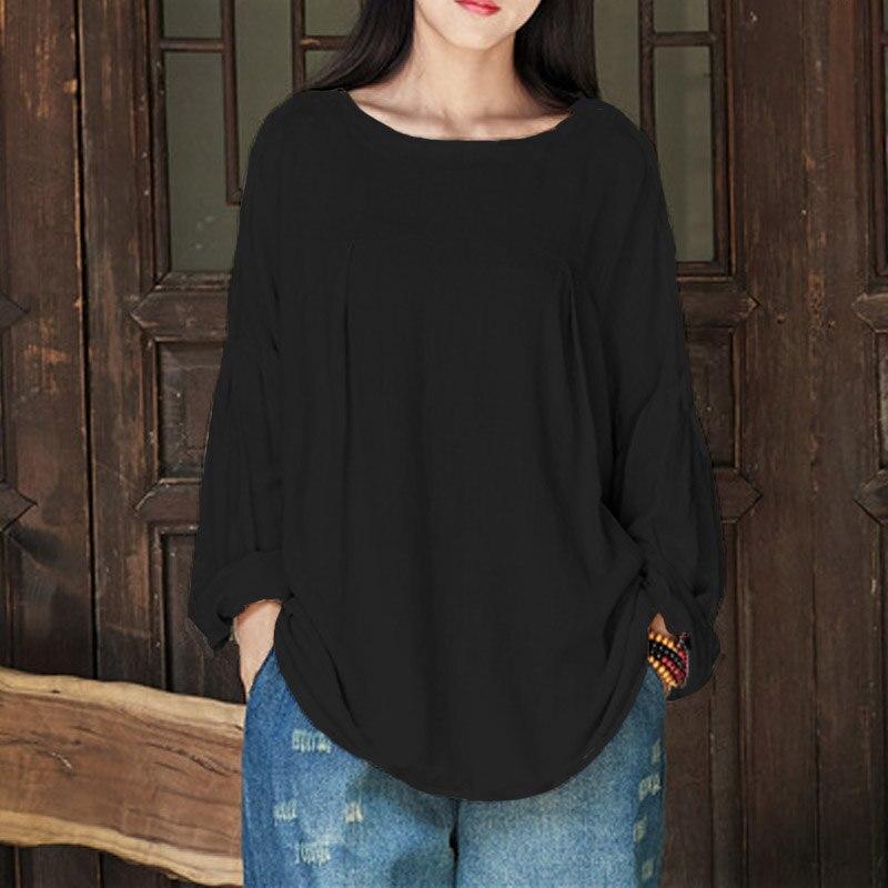 Plus Size CELMIA Autumn Women O Neck Long Lantern Sleeve Cotton Linen Solid Loose Baggy Blouse Shirt Work Retro Top Pullover