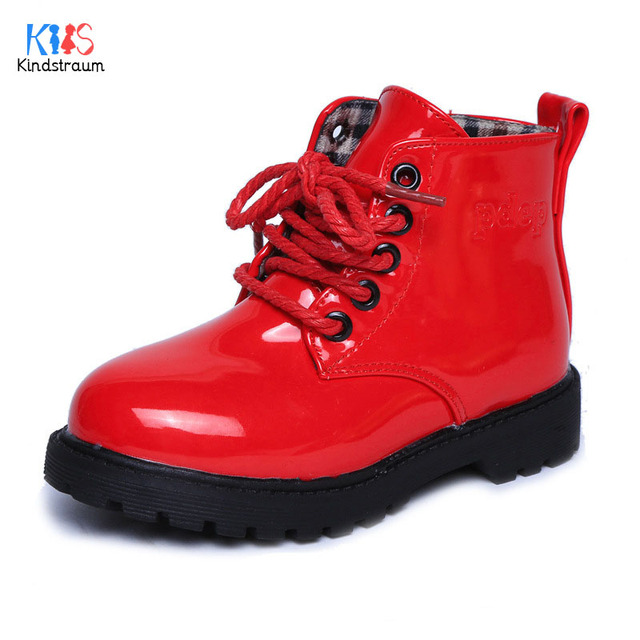 2017 Autumn Boots for Boys & Girls Sewing Design Flat Rubber Antiskid Bottom Children Shoes Brand PU Leather Kids Boots, HJ088