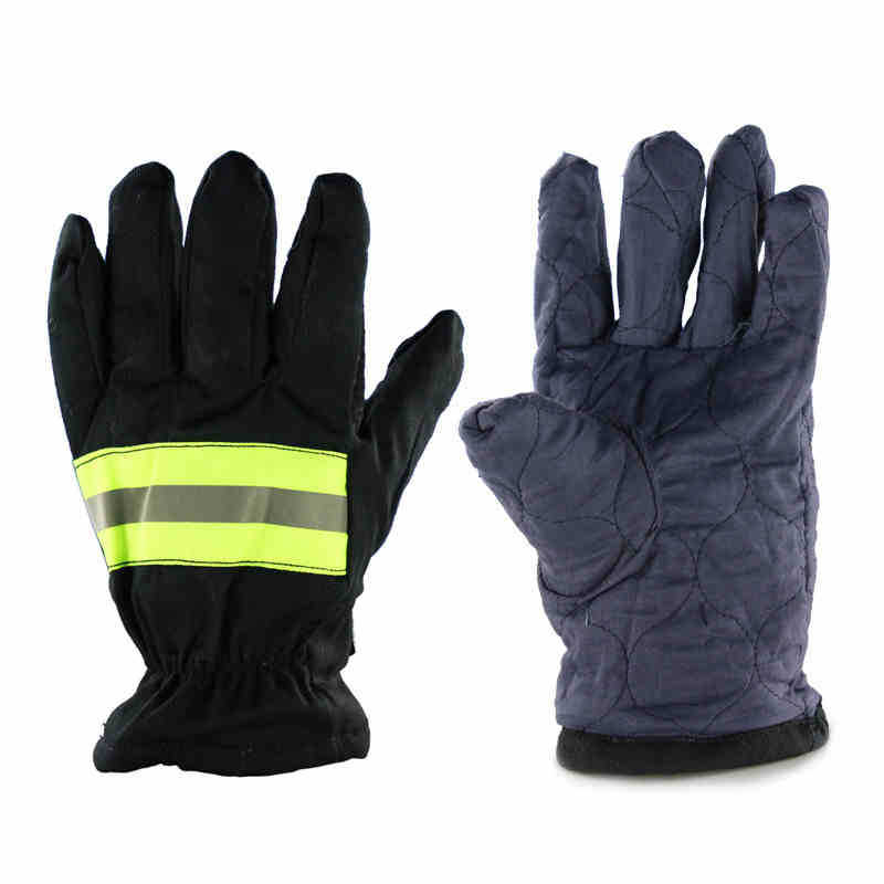 Fire Proof Gloves Wear-Resistance Non-slip Thick Safety Gloves Reflective Strap Fire Resistant Protective Gloves for Firefighter firefighter s hand protective equipment fire rescue flame retardant safety gloves with reflective material tape
