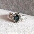 Fantástico color zafiro anillo de compromiso sólido 925 anillo de plata de 4mm * 6mm genuino zafiro bule oscuro fina joyas para la mujer