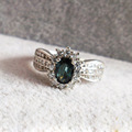 Fantástico cor sapphire anel de noivado para o sólido anel de prata 925 4mm * 6mm genuine sapphire belas bule escuro jóias para a mulher