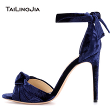 цена на Women High Heel Knotted Sandals 2018 Sexy Ladies Blue Pink Velvet Summer Shoes Party Evening Dress Heels Big Size Wedding