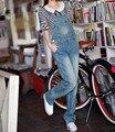 Envío Gratis 2017 Nueva Moda Denim Bib Pantalones Pantalones Rectos Pantalones de Primavera Y Otoño Los Pantalones Vaqueros Del Mono Y Mamelucos de Alta Calidad