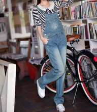 Free Shipping 2017 New Fashion Denim Bib Pants Straight Trousers Pants Spring And Autumn Jeans Jumpsuit