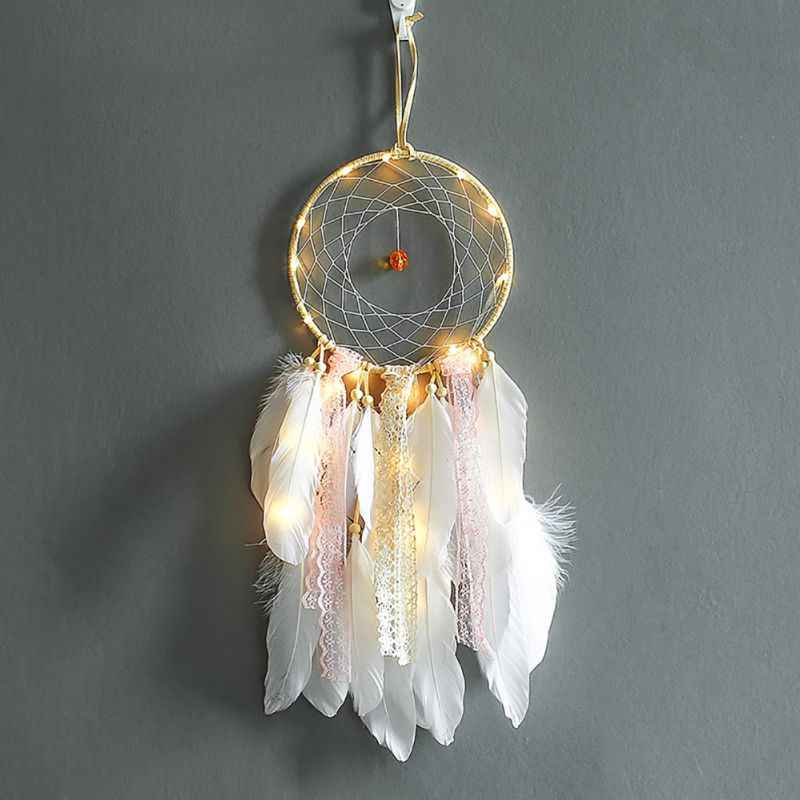 1pc Dream catcher with string light Romantic wall hanging ornament