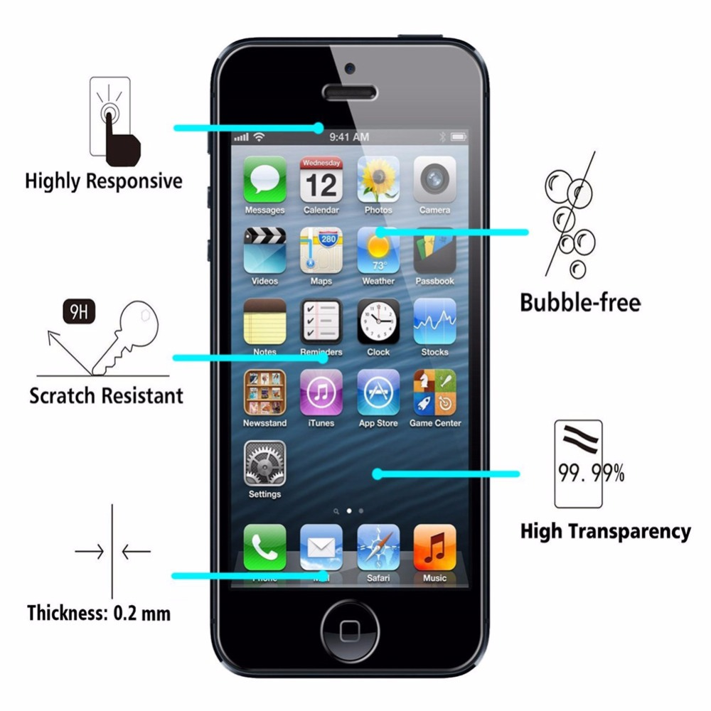 imágenes para 20 unids/lote para iphone 7 plus 6 6 s 5 5S se 4 4S 9 H 2.5D 0.26mm Templado Superior de Cristal Templado Protector de Pantalla de Protección película