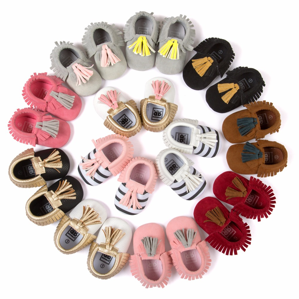 New Romirus Striped Tassel fringe Branded baby shoes PU Leather Infant shoes First walkers Toddlers kids Girls Boys shoes