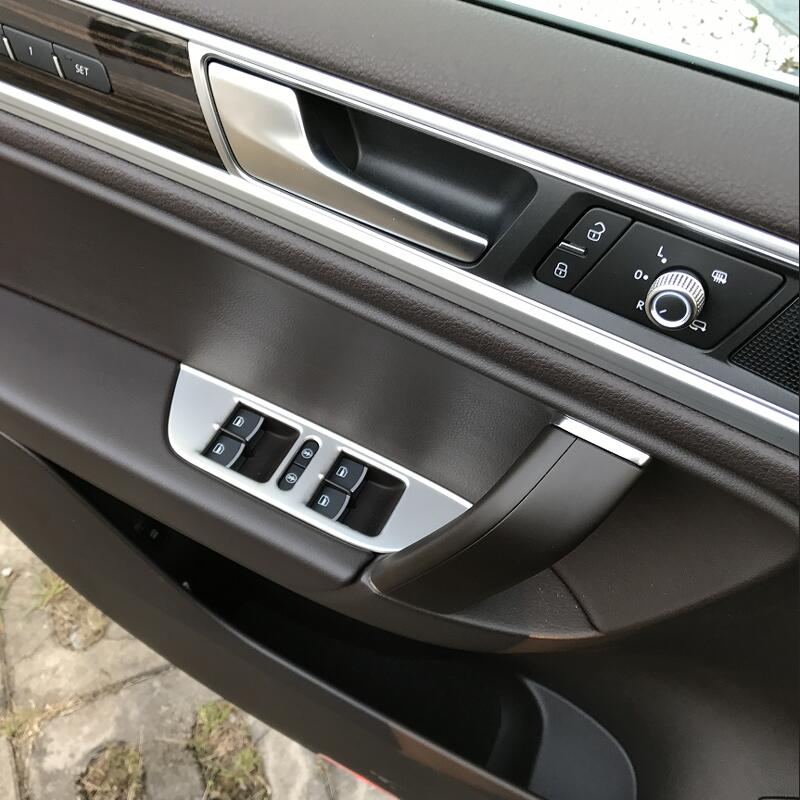 For VW Volkswagen 2011-2018 Touareg Car Styling Stainless steel Car Window Switch Panel Cover Trim Sticker Refitting Accessories car styling for vw volkswagen touran 2016 2017 stainless steel auto full window trims cover external garish frame 12pcs set