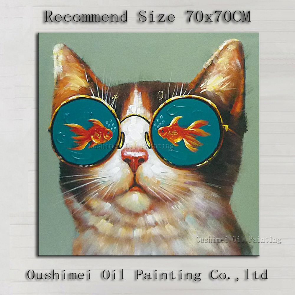 Oil Paintings On Canvas Of Funny Cats