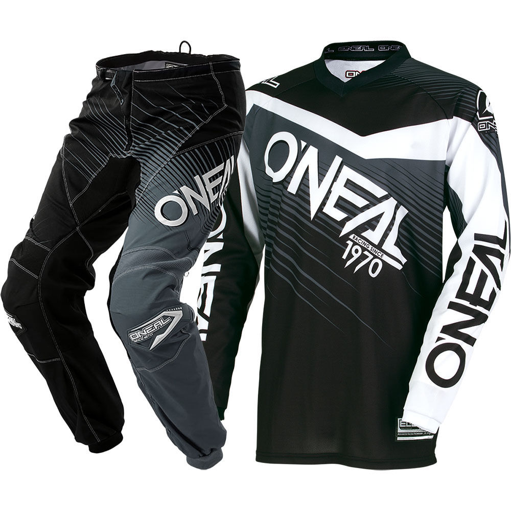 NEW Oneal 2018 MX Element Black Grey Jersey Pants Dirt Bike Biking Racing Motocross Gear Set