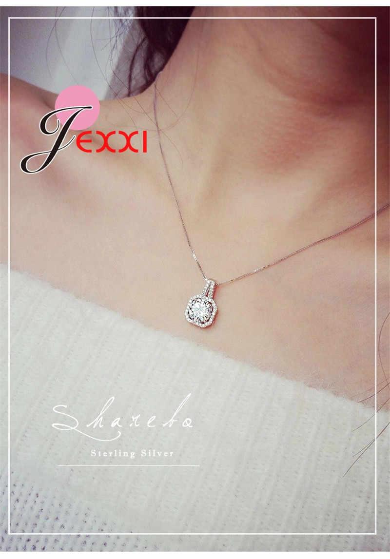 Hot 925 Sterling Silver naszyjnik i wisiorki biżuteria dla kobiet z pole łańcucha luksusowe Big CZ kryształ kamień akcesoria