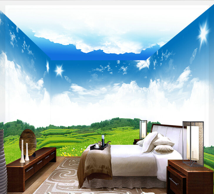 A large mural of stereo 3d personalized wallpaper ktv bar ceiling bedroom wallpaper adhesive sky wallpaper