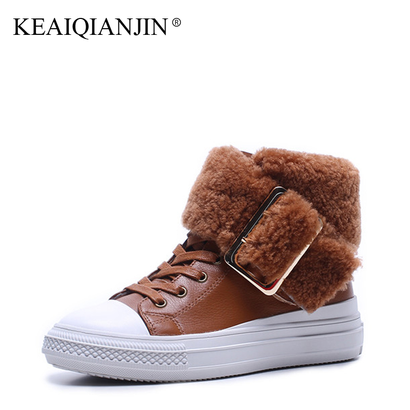 KEAIQIANJIN Woman Lace Up Snow Boots Black Brown Winter Genuine Leather Platform Shoes Fashion Bottine Fur Ankle Boots 2017 fashion genuine leather hollow lace style winter martin boots women warm snow shoes ankle woman bottine ladies platform femme