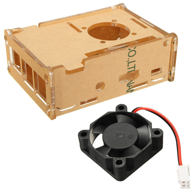 Transparent Clear Case Enclosure Protective Box For Raspberry Pi 2 Raspberry Pi B+ With Cooling Fan Electrical Socket