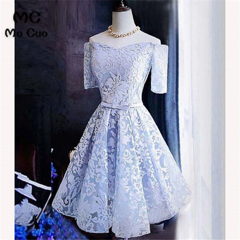 2018 A-Line Lace Graduation Homecoming Dresses Short with Appliques Short Sleeves Homecoming Cocktail Party Dress Short