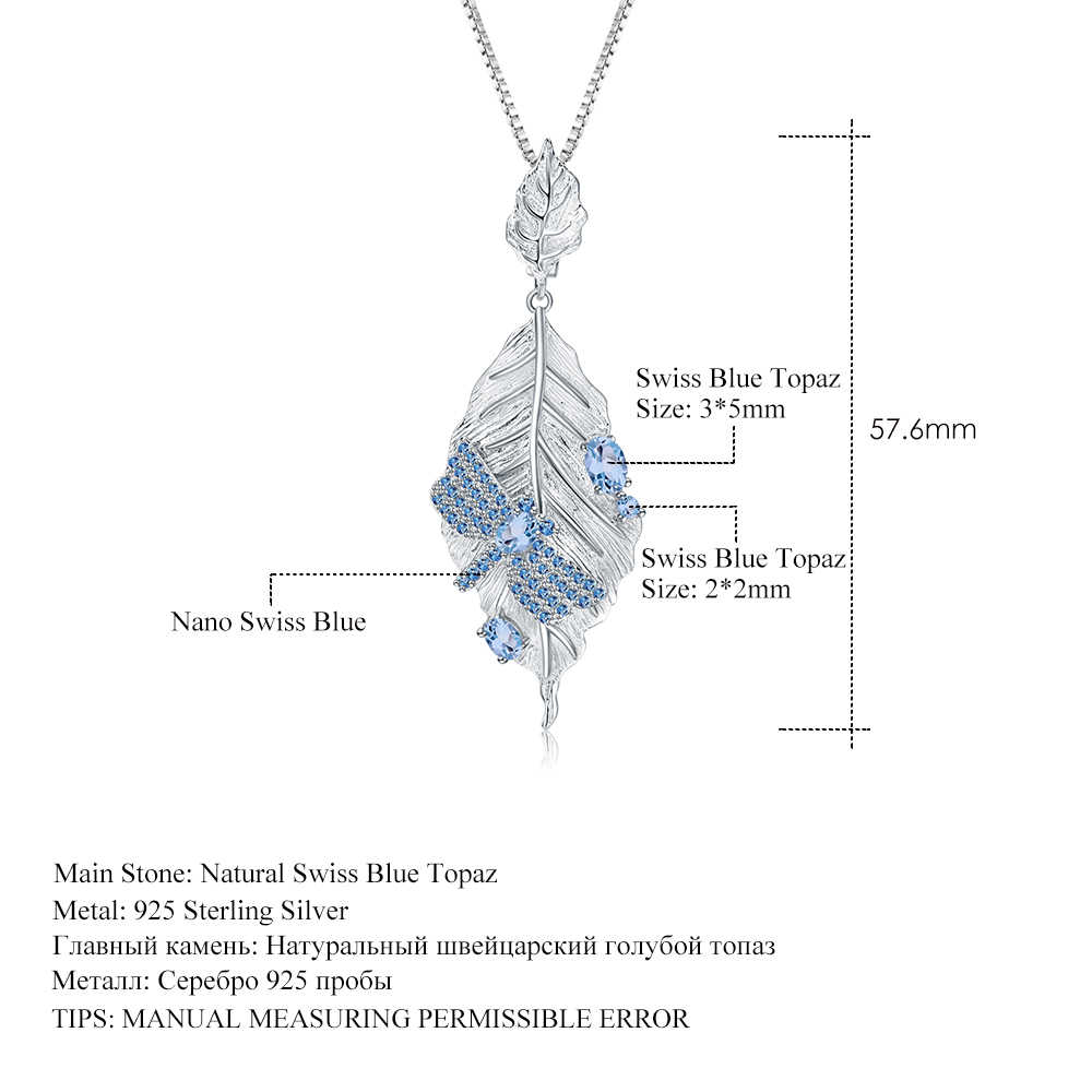 GEM'S בלט 925 סטרלינג כסף 0.78Ct טבעי שוויצרי טופז הכחולה בעבודת יד ארוך עלים תליון שרשרת לנשים Bijoux