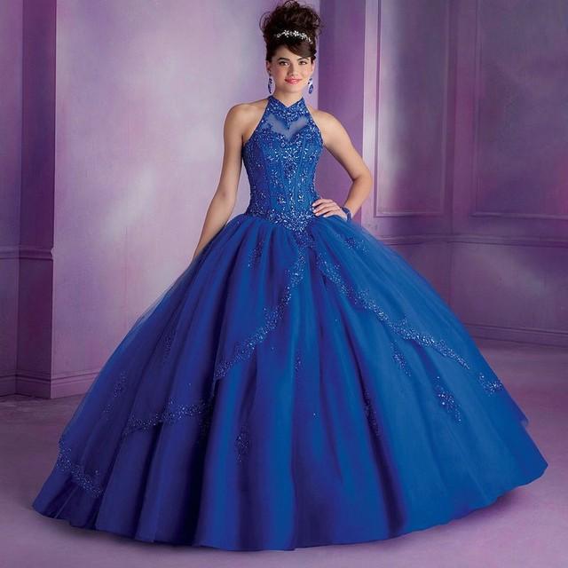 Azul Royal Quinceanera Vestidos Vestidos de Baile de Alta Pescoço Backless Longo Vermelho Vestidos Quinceanera vestidos de 15 años 2015 Nova L236