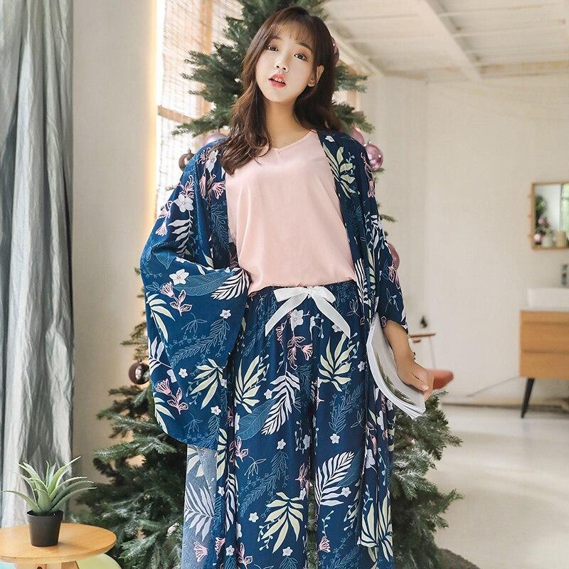 BZEL Spring New Maple Leaf Print Four-piece   Pajamas     Set   Women Robe   Set   Ladies Satin Sleepwear Homewear Robe Suit Nightgown Women