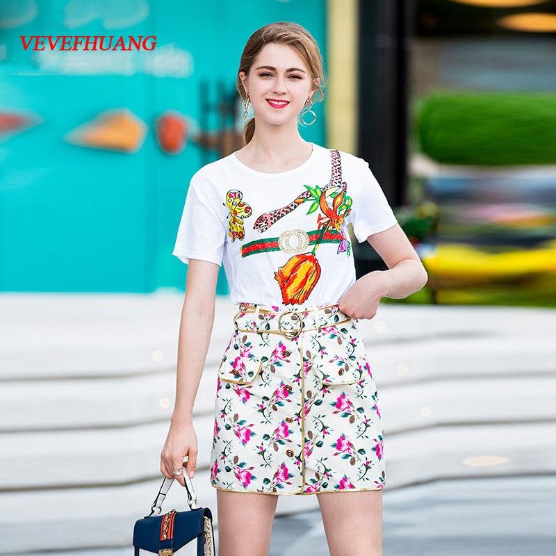 shirt T Della Set Pannello Vestito Esterno Vevefhuang Bianco Pezzi Di Corte Floreale Due Stampa Donna White Maniche A Fashion 2018 Nuovo Estate xARq7waO