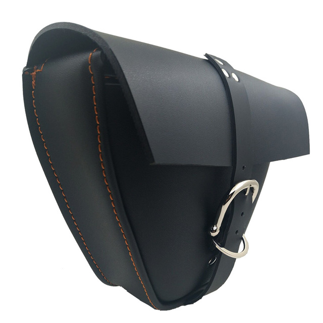 1pc Motorcycle Black PU Leather Side Clinch Bolt Saddlebag Saddle Bag Universal for Harley Sportster XL883 Cafe Racer Honda