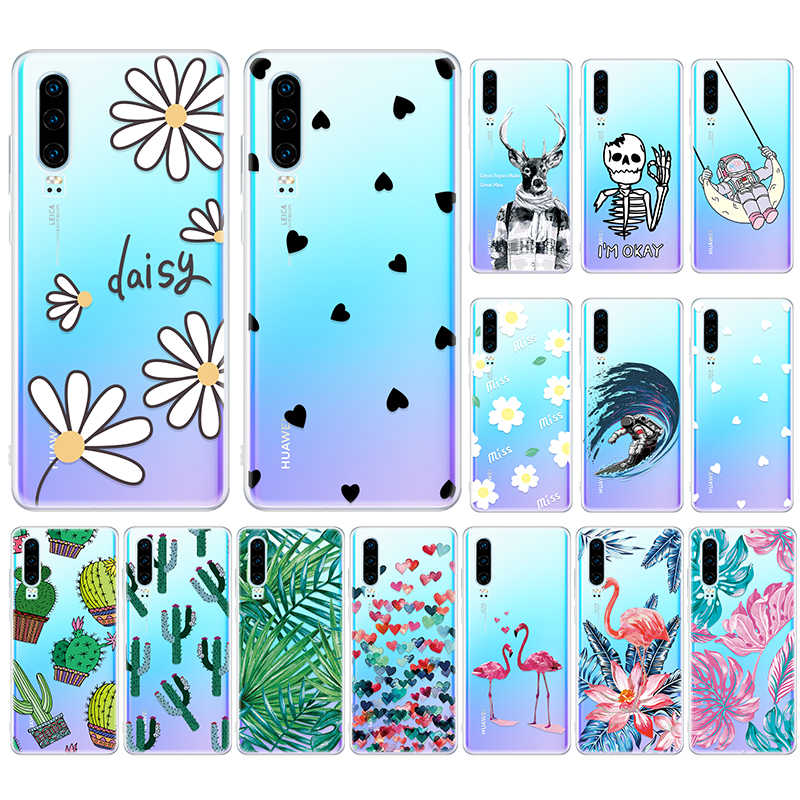 Cute Cartoon Flowers Pattern Case For Huawei P30 P20 Pro Mate 20 10 Lite Silicone Soft Coque On Honor 8X Protective Back Cover