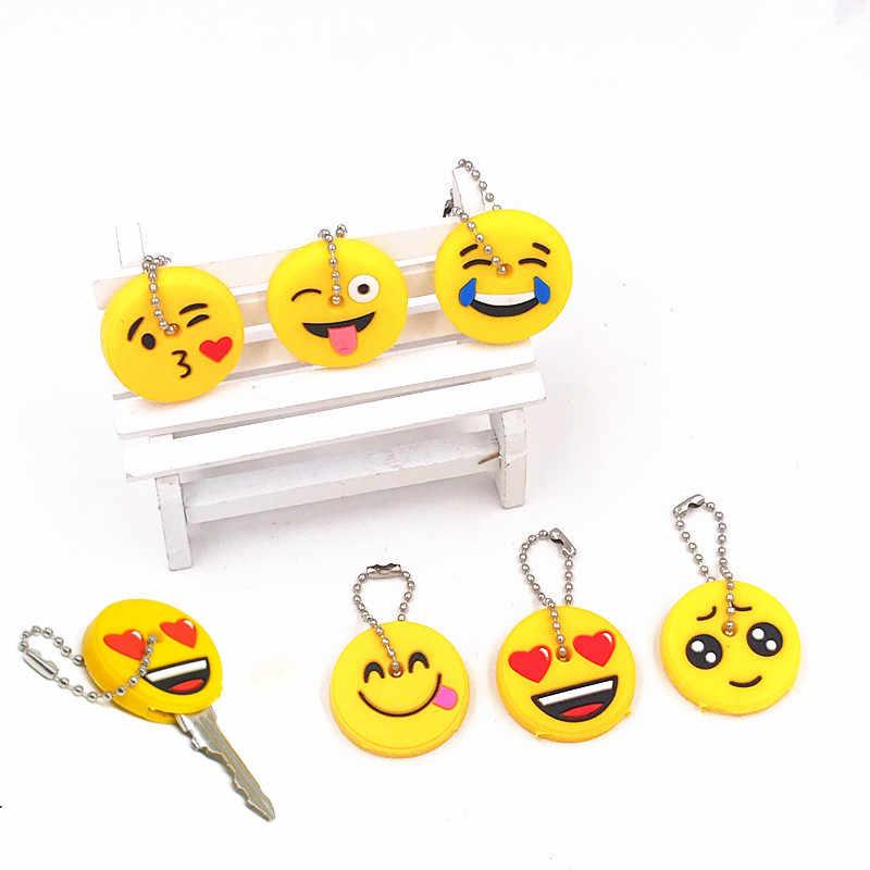 6 pçs/set Emoji Sorriso Dos Desenhos Animados Rosto Expressão chaveiro Silicone Mulheres Homem Tampa Bonito Crianças Tampas de chave Chave Chave Anel Chave titular