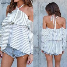 2018 new spring summer ruffle blouse shirt  flare sleeve halter neck cami cold off shoulder top women chiffon blusa feminina cami cold shoulder loose knitwear page 9