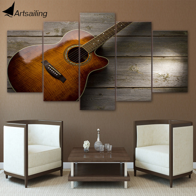Hd Printed 5 Piece Canvas Art Classical Guitar Music Painting Poster Wall Pictures Living Room Cu-2494c