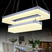 Современные светодиодные pmma площади подвесной светильник двойные круги droplights дома Освещение в помещении фойе Обеденная Ресторан огни
