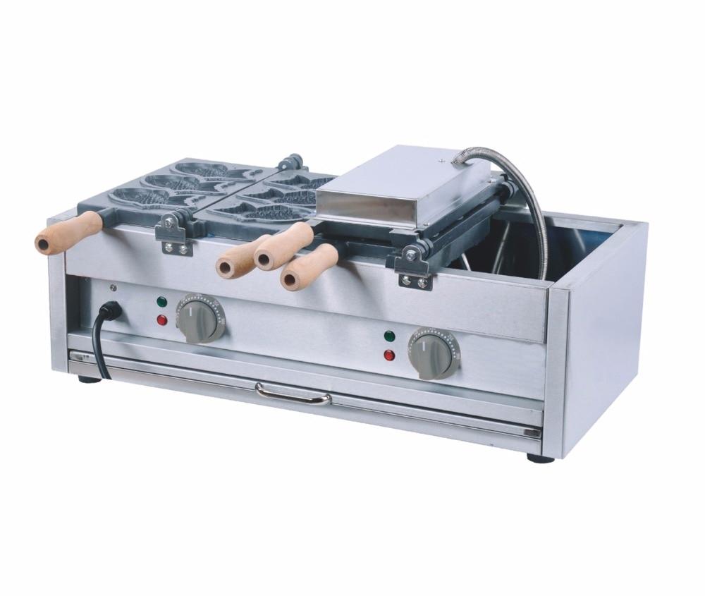 110V 220v Commercial use New 6pcs electric fish taiyaki making machine, electric fish shape waffle maker