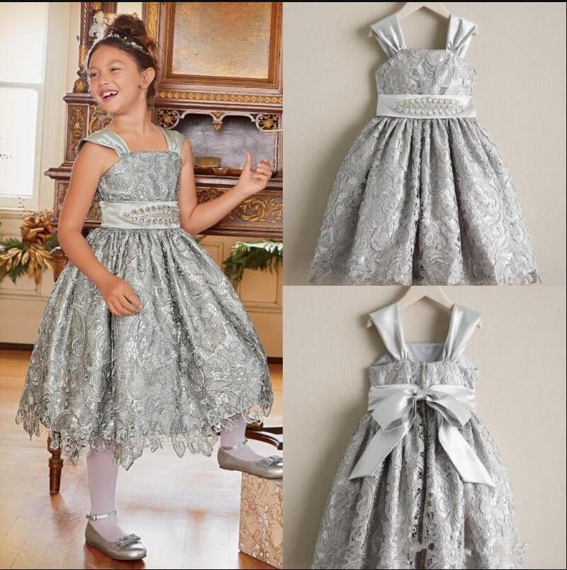 New Tea-Length Princess   Dress   Full Lace   Flower     Girl     Dress   with Belt Beading Custom Made For Birthday Wedding   Girls   Formal Wears